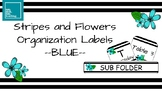 Stripes and Flowers Organization Labels -BLUE
