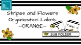 Stripes and Flowers Organization Labels -ORANGE