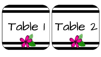 Stripes and Flowers Organization Labels -PINK