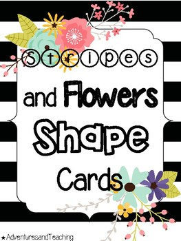Stripes and Flowers Shape Cards