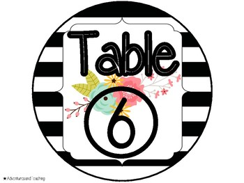 Stripes and Flowers Table Signs