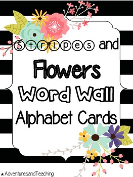 Stripes and Flowers Word Wall Alphabet Cards
