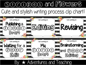 Stripes and Flowers Writing Process Clip Chart {Writer's Workshop}