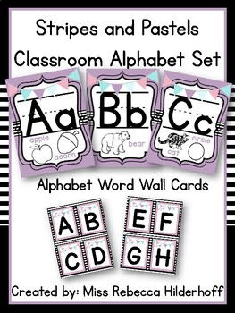 Stripes and Pastel Alphabet Set