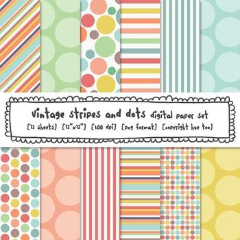Stripes and Polka Dots Digital Backgrounds, Pastel Colors Digital Paper