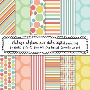 Stripes and Polka Dots Digital Backgrounds, Pastel Colors