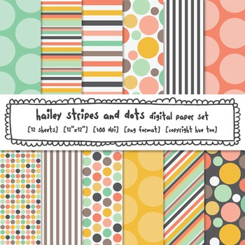 Stripes and Polka Dots Digital Backgrounds, Pink, Blue and Yellow Digital Paper