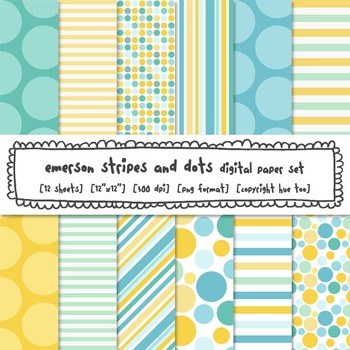 Stripes and Polka Dots Digital Paper, Aqua, Blue and Yellow Backgrounds