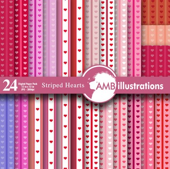 Digital Papers, Valentines Hearts digital paper, digital backgrounds, AMB-332