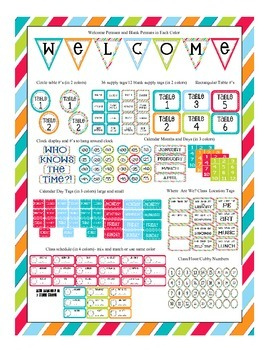 Stripes on Turquoise Themed Classroom Bundle