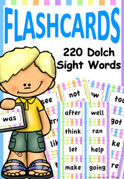 Dolch Sight Words Striped Flashcards