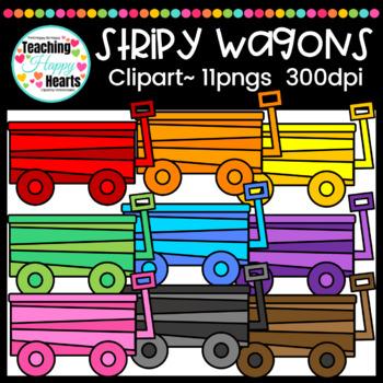 Stripy Wagons Clipart