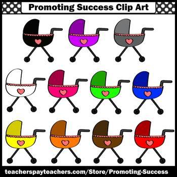 Stroller Clip Art, Colors Clip Art, Baby Carriages, SPS