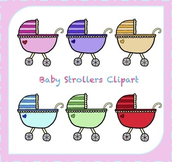 Stroller Clipart / Baby Clipart / Baby Carriage Clipart / Its a Girl / Its a Boy