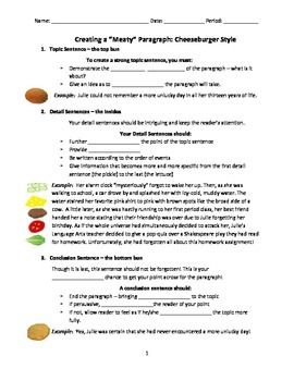 Writing a Strong Paragraph - Cheeseburger Style, Part Two