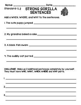 Strong Sentences 1L1j Assessment