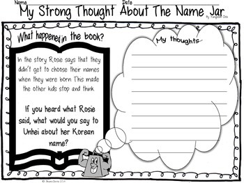 Strong Thought Freebie inspired by The Name Jar by Yangsook Choi