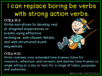 Writing Process : Strong Verb Practice Power Point (Writing Instruction)