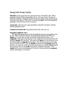 Strong Verbs: Group Writing Activity