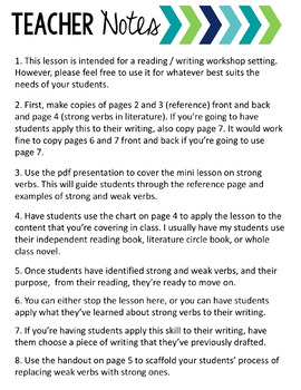 Strong Verbs: Reading and Writing Workshop Mini-Lesson