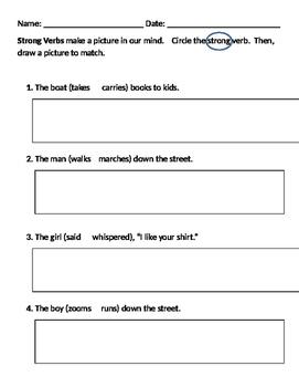 Strong Verbs Worksheet