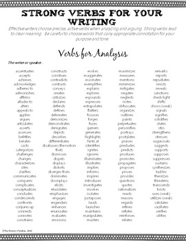 Strong Verbs: A Student Reference