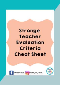 Stronge Teacher Evaluation Cheat Sheet