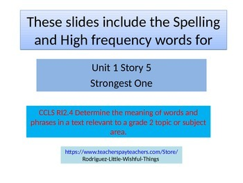 "2nd grade Unit 1 story 5 ""Strongest One""words"