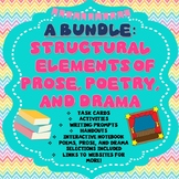 Structural Elements of Poetry Prose and Drama Task Cards, Activities, Printables