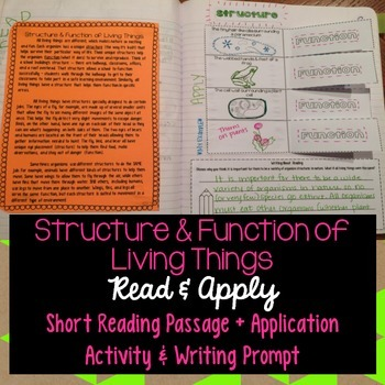 Structure and Function Reading Comprehension Interactive Notebook