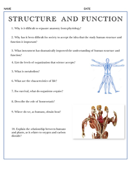 Structure and Function Review w/key