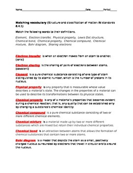 Structure and classification of matter vocab test with key