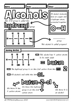 Structure of Alcohols, Naming Alcohols Doodle Notes, High School Chemistry