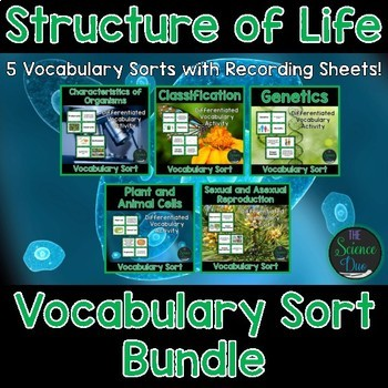 Structure of Life Vocabulary Sort Bundle