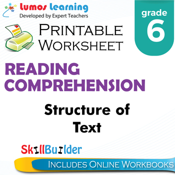 Structure of Text Printable Worksheet, Grade 6