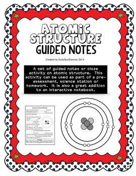 Structure of an atom guided notes by curly que science tpt structure of an atom guided notes ccuart