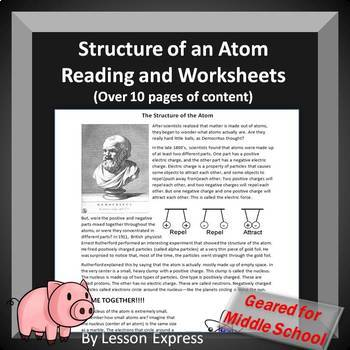 Structure of an Atom Reading and Practice Worksheets (4 w/s)