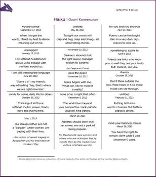 Structure of poetry lesson-Analyze imagery & verse length in haiku