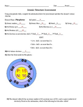 Structure of the Atom and Periodic Table Assessment
