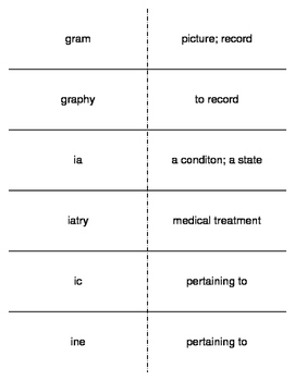 Structure of the Medical Language Prefixes and Suffixes Flash Cards
