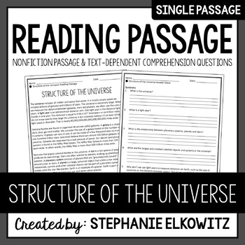 Structure of the Universe Reading Passage