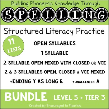 Structured Literacy Spelling Bundle - Level 5 OPEN SYLLABLES