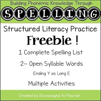 Structured Literacy Spelling Level 5 OPEN SYLLABLES FREEBIE