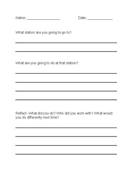 Structured Play Reflection Sheet