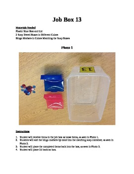 Structured Teaching Job Box 13