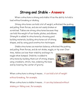Structures Lesson 2 - Strong and Stable