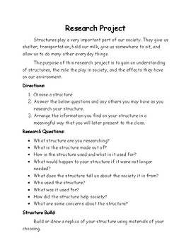 Structures Lesson 9 and 10 - Research Project
