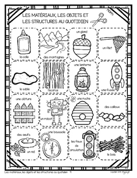 Structures, Objects and Materials • French • Les matériaux, objets et structures