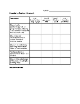 Structures Project Rubric
