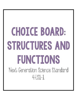Structures and Functions Choice Board